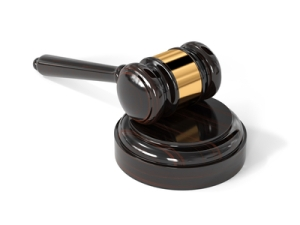 Judge wooden gavel isolated